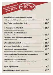 k.u.k. Wirtshaus - aktuelle Speisekarte