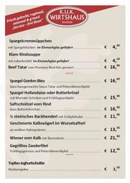 k.u.k. Wirtshaus - Menüs